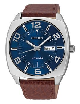 mens-automatic-recraft-brown-leather-strap-watch-44mm-snkn37 by seiko