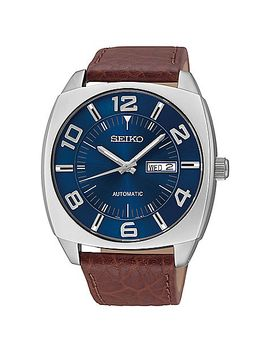 seiko-recraft-mens-43mm-automatic-watch-in-stainless-steel-with-brown-leather-strap by bed-bath-and-beyond