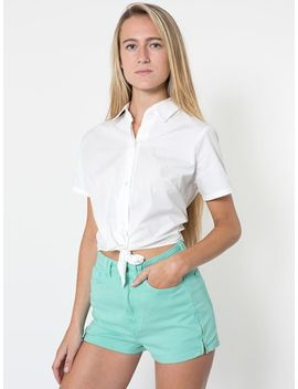 poplin-mid-length-tie-up-blouse by american-apparel