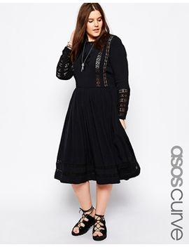 asos-curve-premium-midi-dress-with-crochet-insert by asos-curve