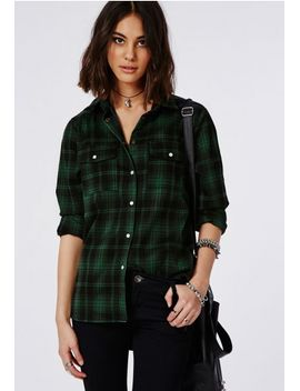 tartan-oversized-shirt-green by missguided