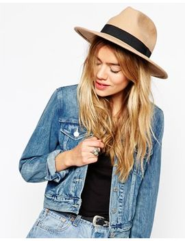 asos-felt-fedora-hat-with-wide-band-and-stitch-edge by asos-collection