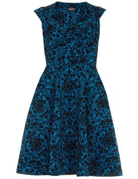 fever-fish-teal-flared-dress by dorothy-perkins