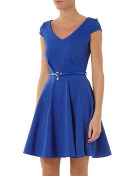 closet-blue-v-neck-cap-sleeve-dress by dorothy-perkins