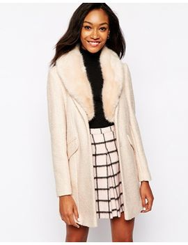 warehouse-tweed-faux-fur-collar-coat by warehouse