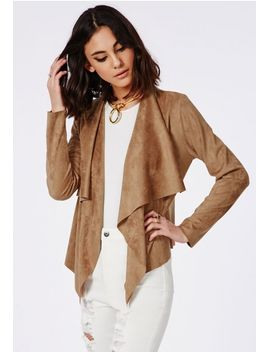 faux-suede-waterfall-jacket-tan by missguided