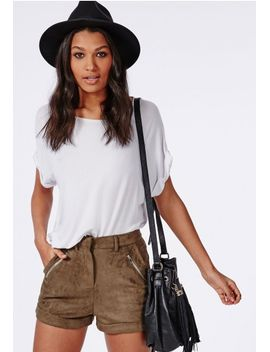 sarina-faux-suede-zip-detail-shorts-khaki by missguided