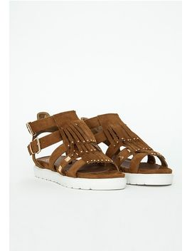 fringe-trim-studded-gladiator-sandals by missguided
