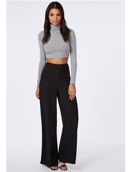 premium-crepe-wide-leg-trousers-black by missguided