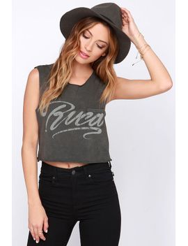 rvca-ink-script-washed-grey-crop-tee by rvca