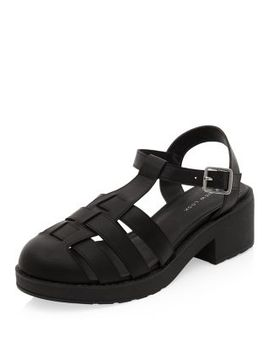 black-chunky-caged-t-bar-sandals by new-look