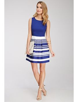 striped-box-pleated-dress by forever-21