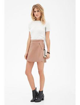 zippered-faux-leather-mini-skirt by forever-21