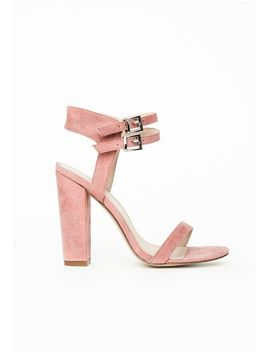 double-strap-block-heeled-sandals-rose-faux-suede by missguided