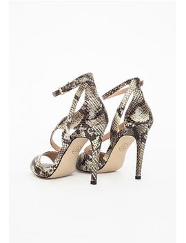 strappy-asymmetric-heeled-sandals-snake-print by missguided