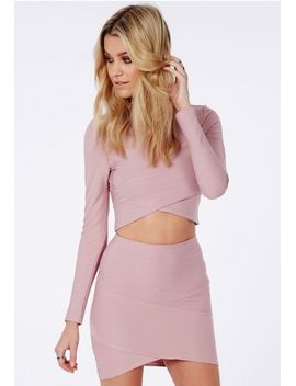 bandage-asymmetric-hem-mini-skirt-mauve by missguided