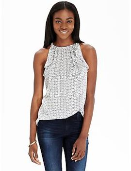 womens-ruffle-trim-sleeveless-tops by old-navy