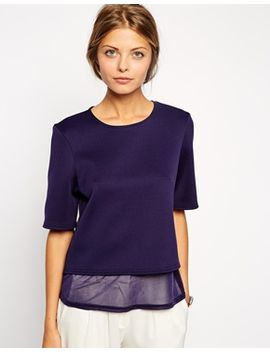 asos-textured-top-with-sheer-inserts by asos-collection