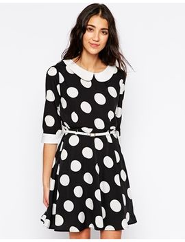 yumi-belted-dress-in-large-dot-print by casual-dress