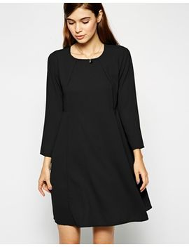 asos-woven-full-swing-dress-with-seam-detail-and-long-sleeves by asos-collection