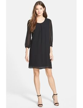 three-quarter-sleeve-pleat-front-dress by pleione