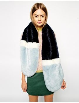 asos-faux-fur-colour-block-long-scarf by asos-collection