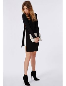 long-sleeve-side-split-shell-top-black by missguided