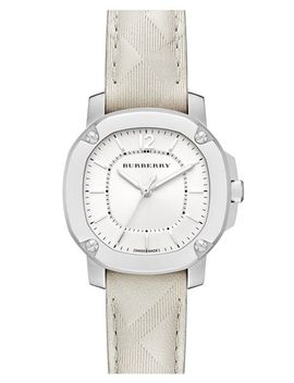 check-stamped-leather-strap-watch,-34mm by burberry-the-britain
