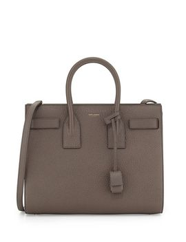 sac-de-jour-small-grained-leather-tote-bag,-earth-gray by saint-laurent