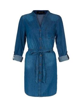 blue-denim-grandad-collar-shirt-dress by new-look