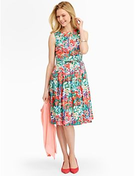 impressionist-floral-fit-and-flare-dress by talbots