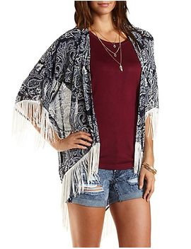 fringe-trimmed-printed-kimono-cardigan by charlotte-russe