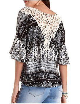 oversized-paisley-&-crochet-top by charlotte-russe