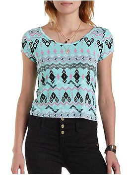 cross-back-tribal-print-tee by charlotte-russe