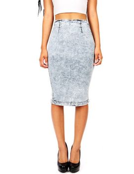 trendy-new-high-waist-rise-pencil-skirt-acid-wash-vibrant-denim-made-in-usa-sml by vibrant