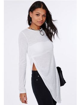soreenah-long-sleeve-asymetric-jersey-top-white by missguided