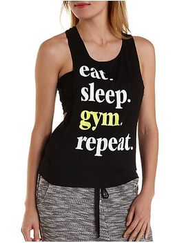 gym-graphic-knotted-racerback-tank-top by charlotte-russe
