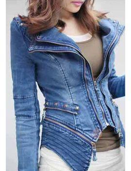 studded-shoulder-denim-blazer---blue by lookbook-store