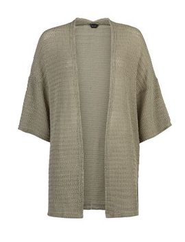 khaki-fine-knit-kimono-cardigan by new-look