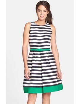 belted-stripe-fit-&-flare-dress by eliza-j