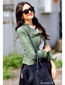 studded-shoulder-denim-blazer---green by lookbook-store