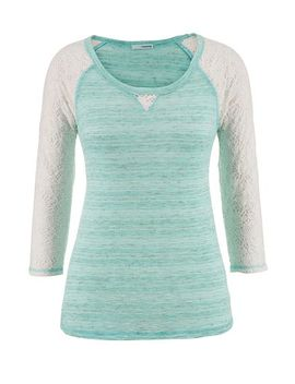 lace-sleeve-contrast-stitch-spacedye-top by maurices