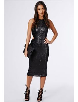 leyla-sequin-cut-out-high-neck-midi-dress-black by missguided