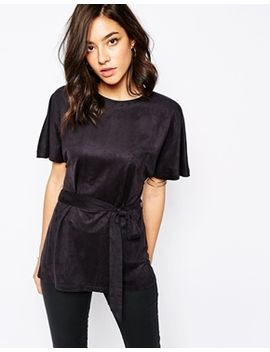 warehouse-suedette-belted-kimono-top by warehouse