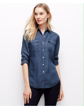 snap-chambray-shirt by ann-taylor