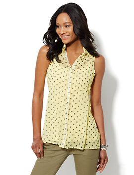 sleeveless-tunic-blouse---polka-dot-print by new-york-&-company