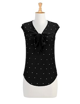 crafted-dots-crepe-blouse by eshakti