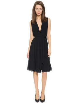 deep-v-pleated-dress by lagence