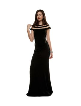 black-scuba-mesh-long-dress by windsor