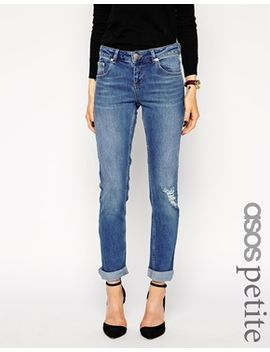 asos-petite-kimmi-supersoft-stretch-shrunken-boyfriend-jeans-in-mid-wash-vintage-with-ripped-knee by asos-petite